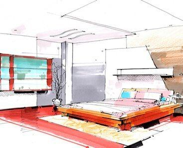 bed room interior design duke richards sketch