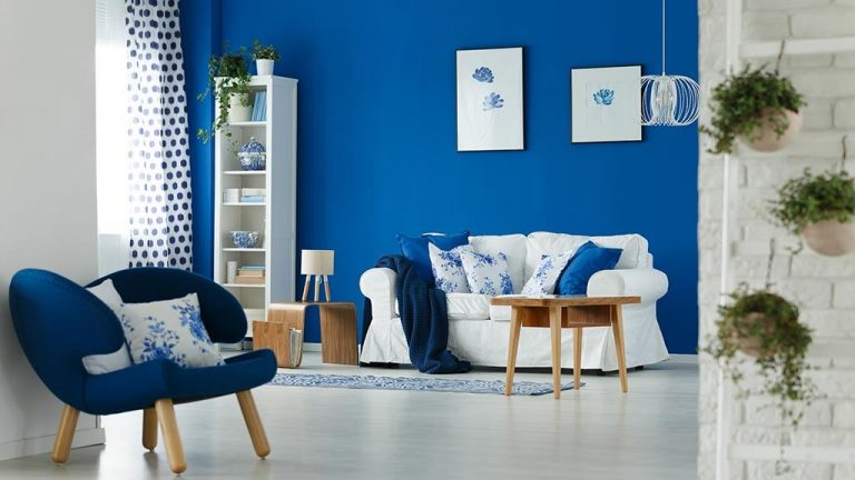 living room interior design blue shade