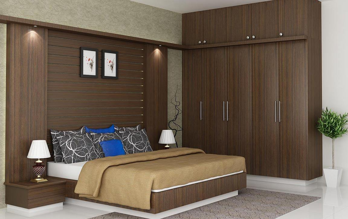 bed room interior design render brown