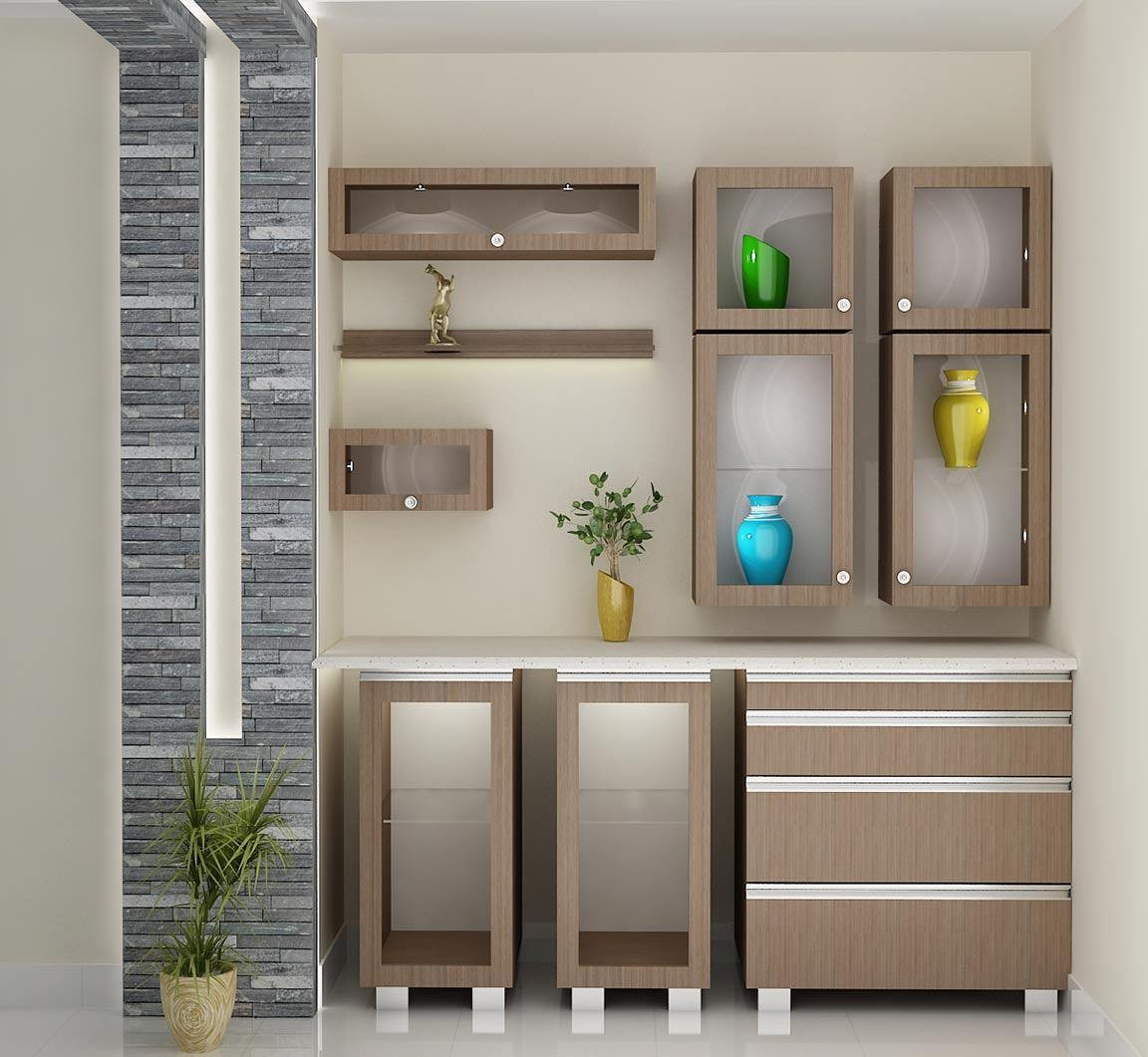 cutlery cupboard stone wall interiors